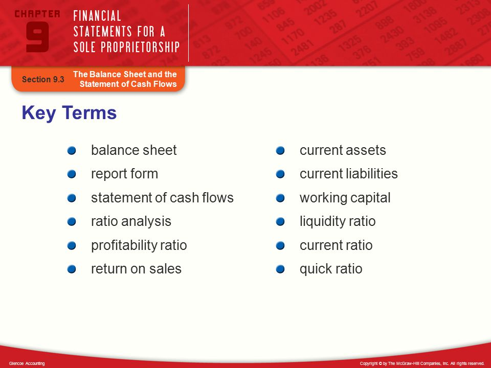 Key Terms balance sheet report form statement of cash flows