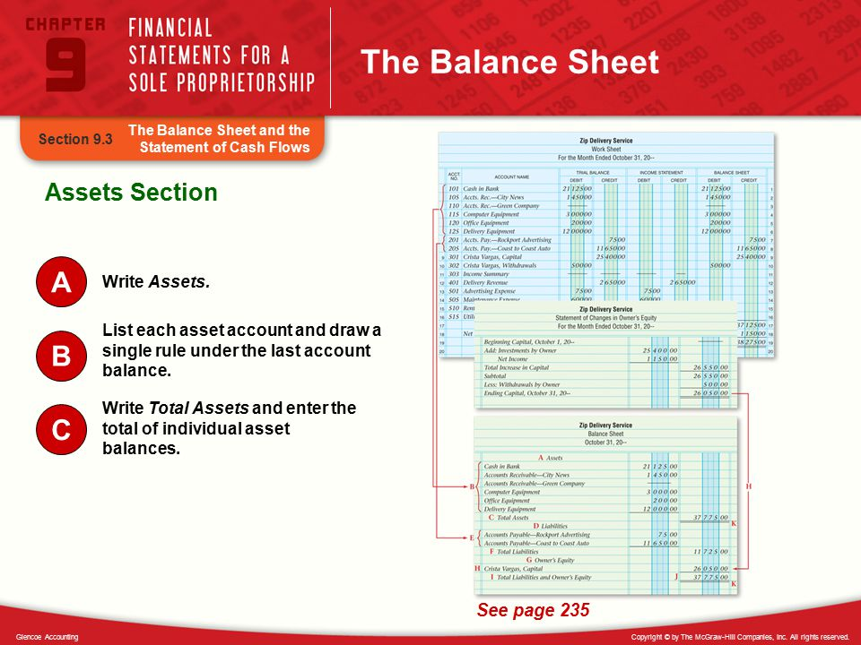 The Balance Sheet A B C Assets Section See page 235 Write Assets.