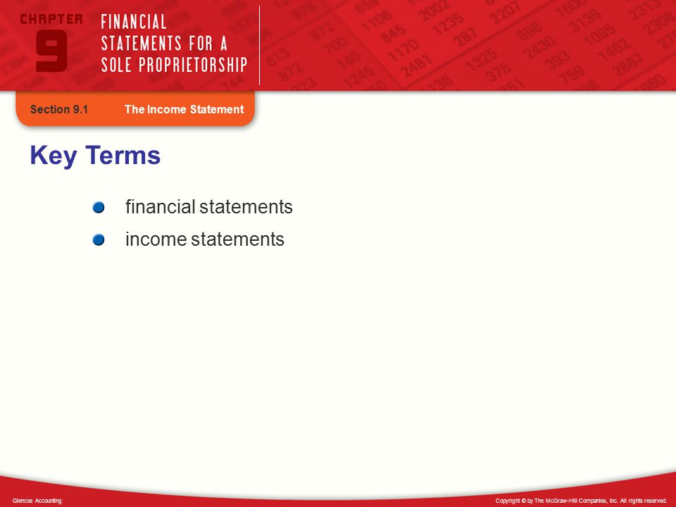Key Terms financial statements income statements Section 9.1