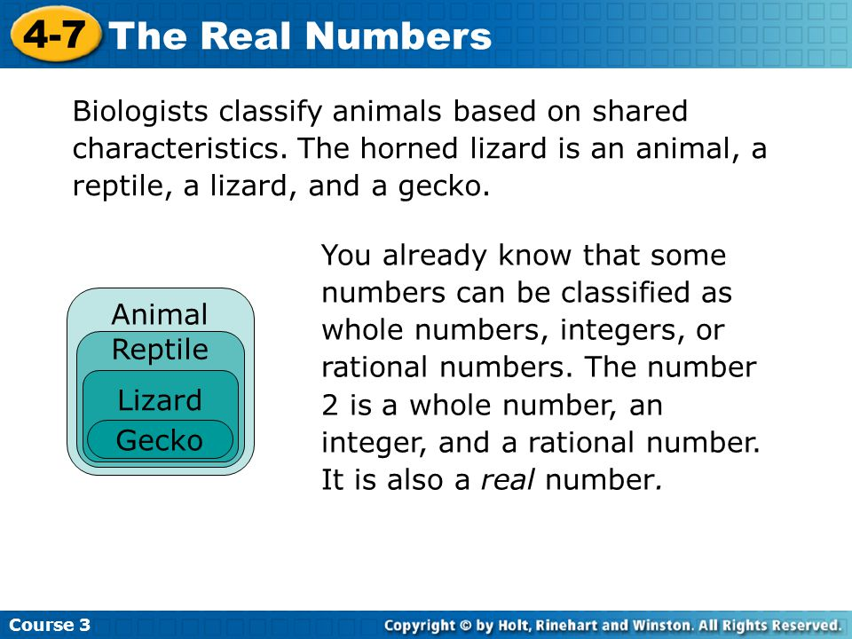 Biologists classify animals based on shared characteristics