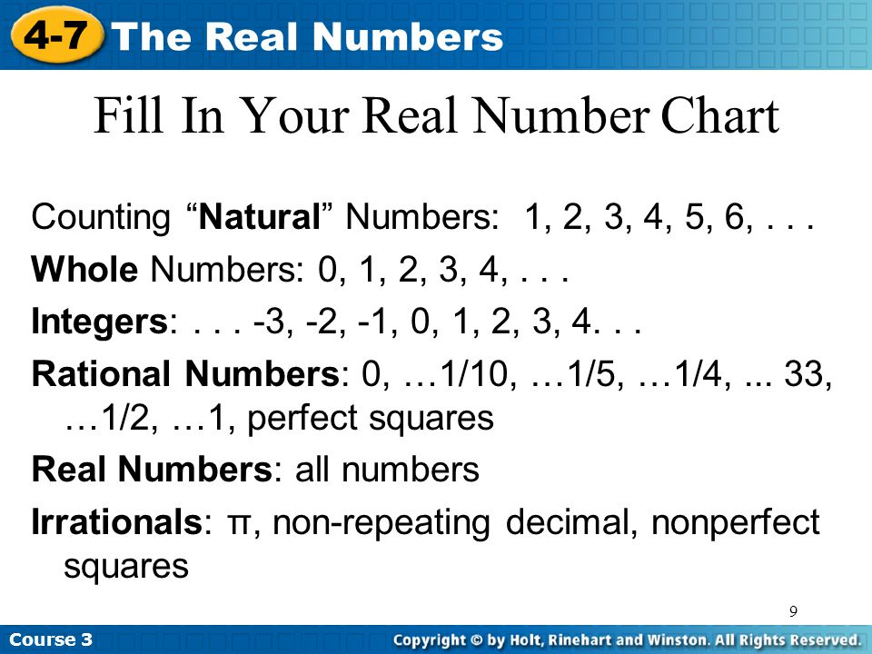 Fill In Your Real Number Chart