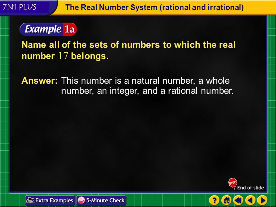 Name all of the sets of numbers to which the real number 17 belongs.