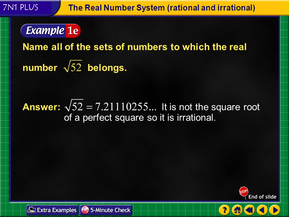 Name all of the sets of numbers to which the real number belongs.