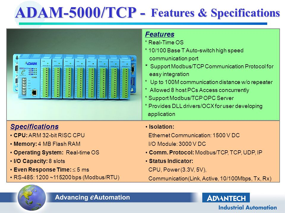ADAM-5000/TCP- Distributed Ethernet I/O - ppt video online