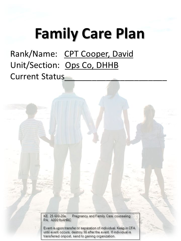 Family Care Plan Rankname Cpt Cooper David Ppt Download
