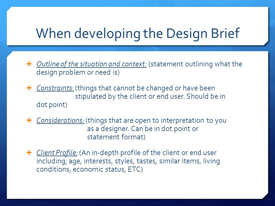 The Design Brief How To Write Ppt Video Online Download