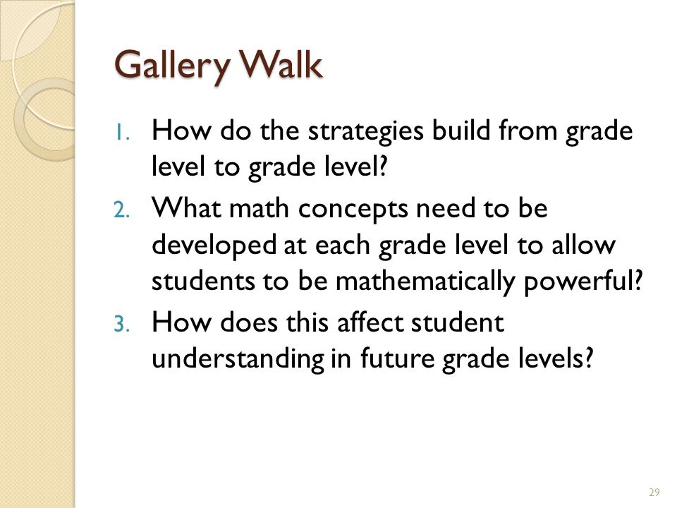 Gallery Walk How do the strategies build from grade level to grade level