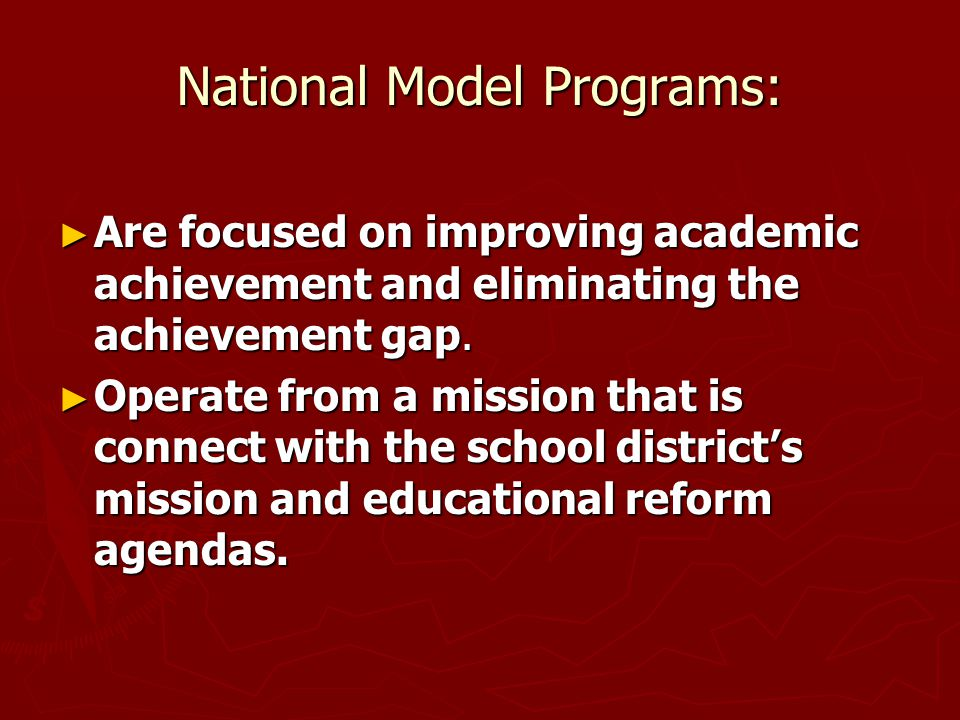 National Model Programs: