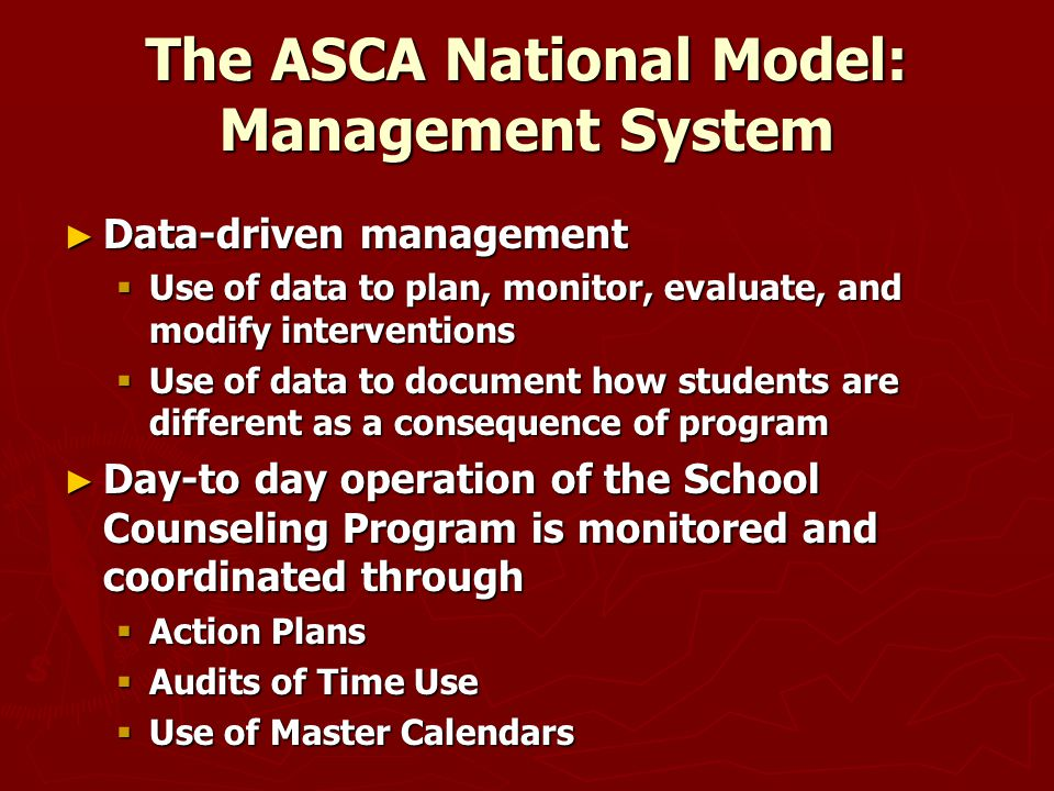 The ASCA National Model: Management System