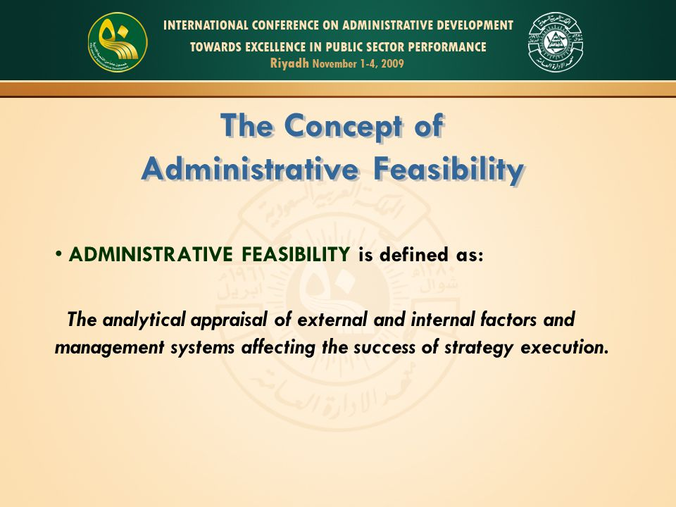 administrative feasibility definition