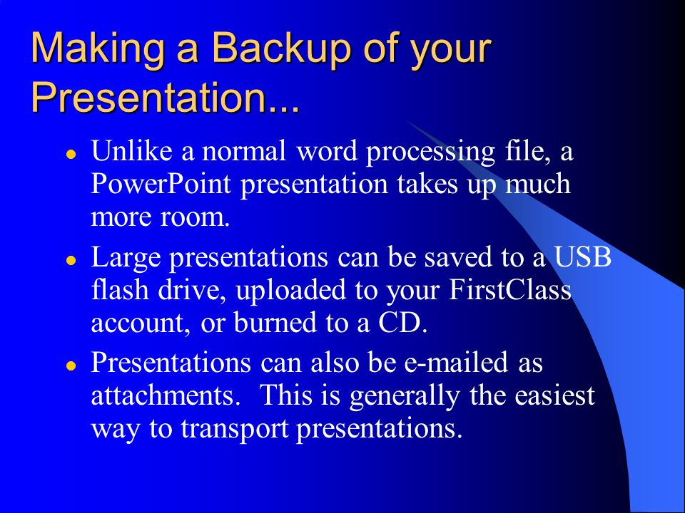 Making a Backup of your Presentation...