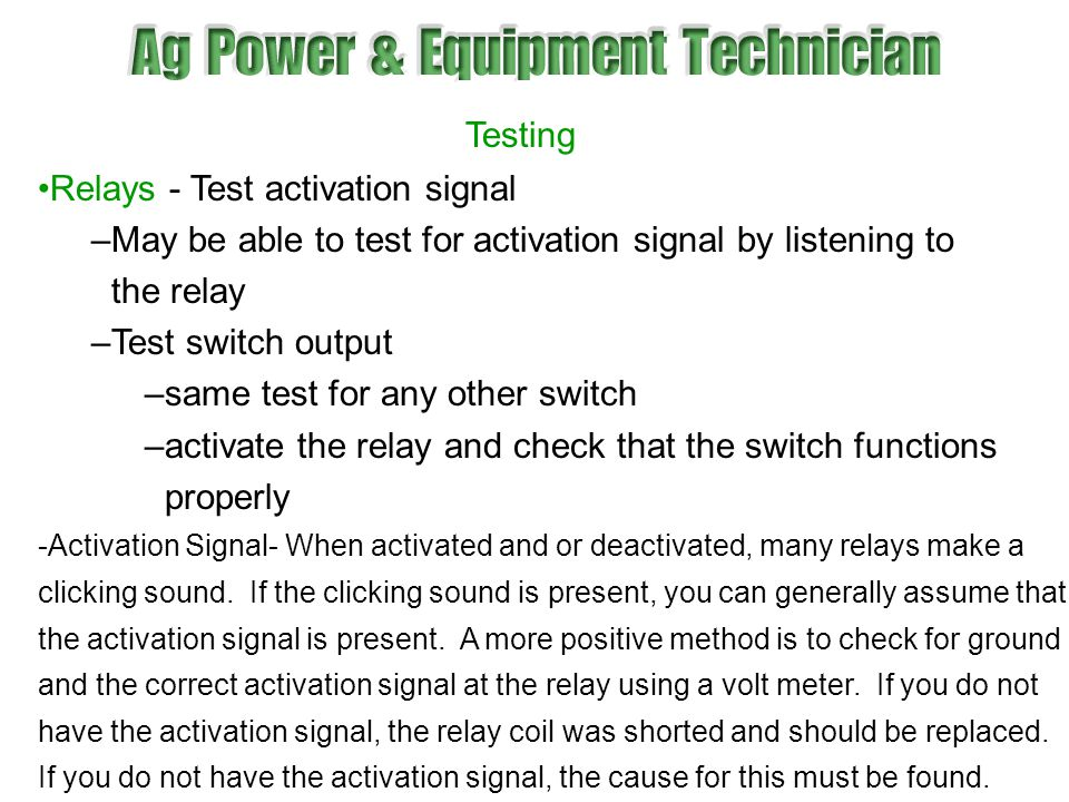 Relays - Test activation signal