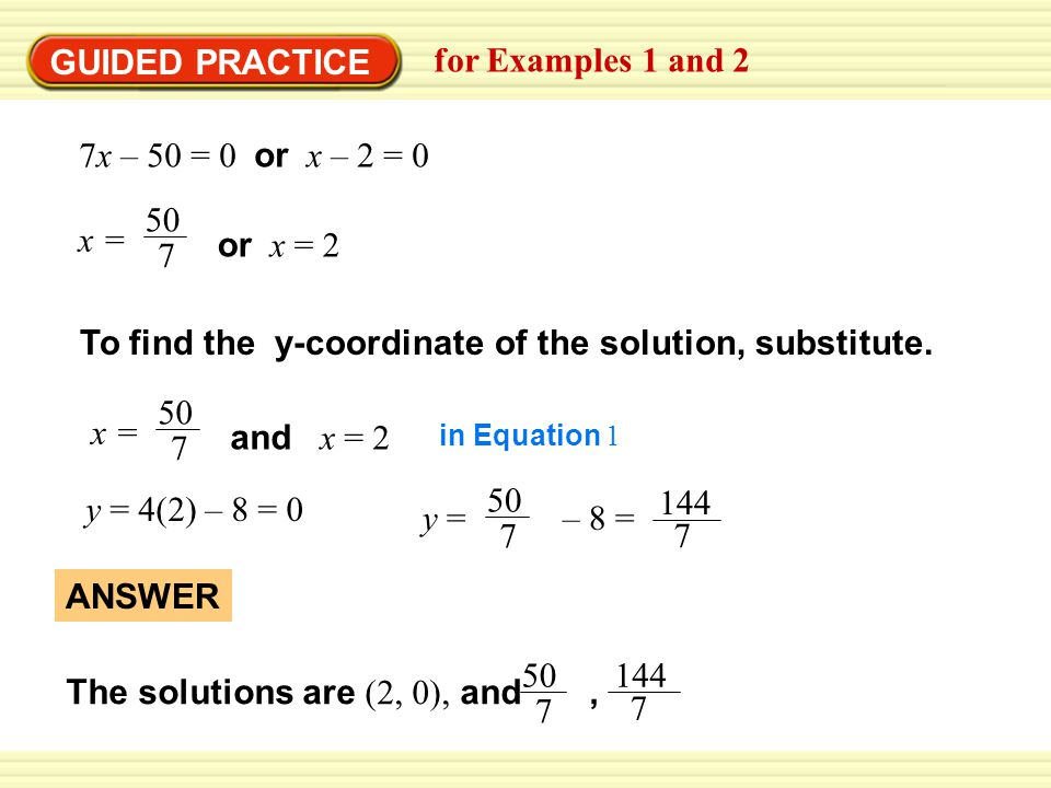 To find the y-coordinate of the solution, substitute.