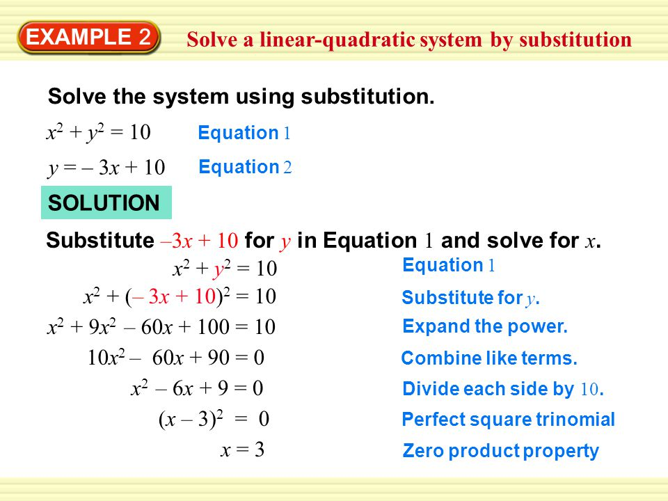 Solve a linear-quadratic system by substitution
