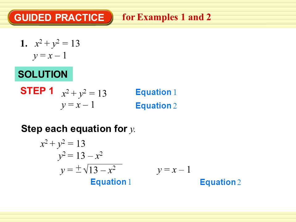 Step each equation for y.