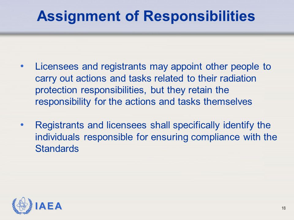 Assignment of Responsibilities