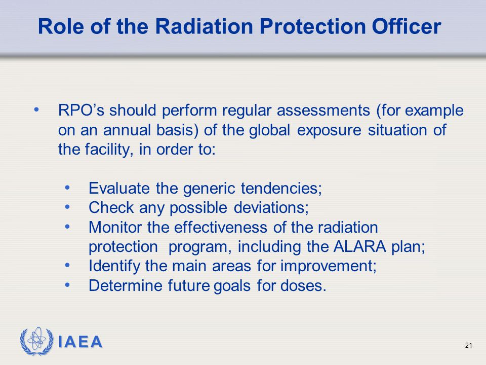 Role of the Radiation Protection Officer
