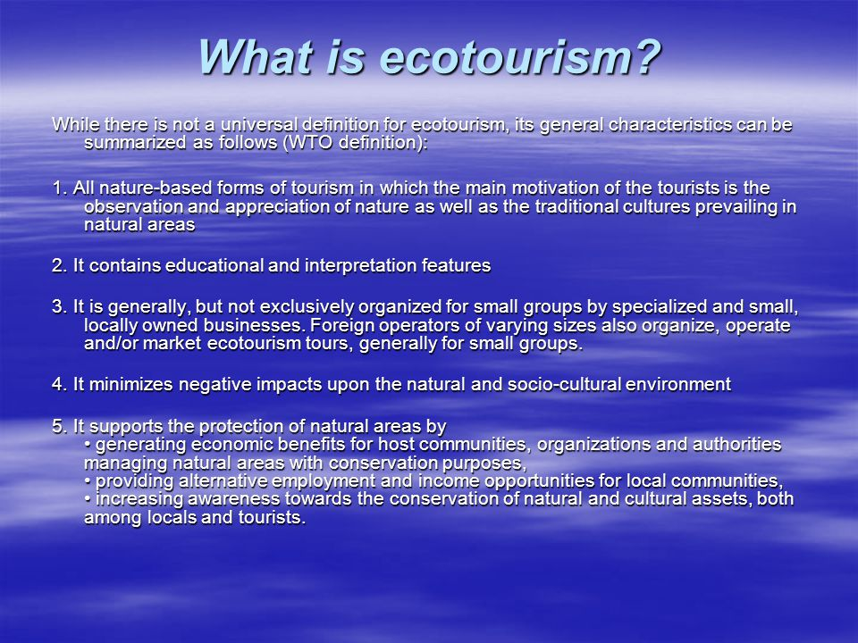 features of ecotourism