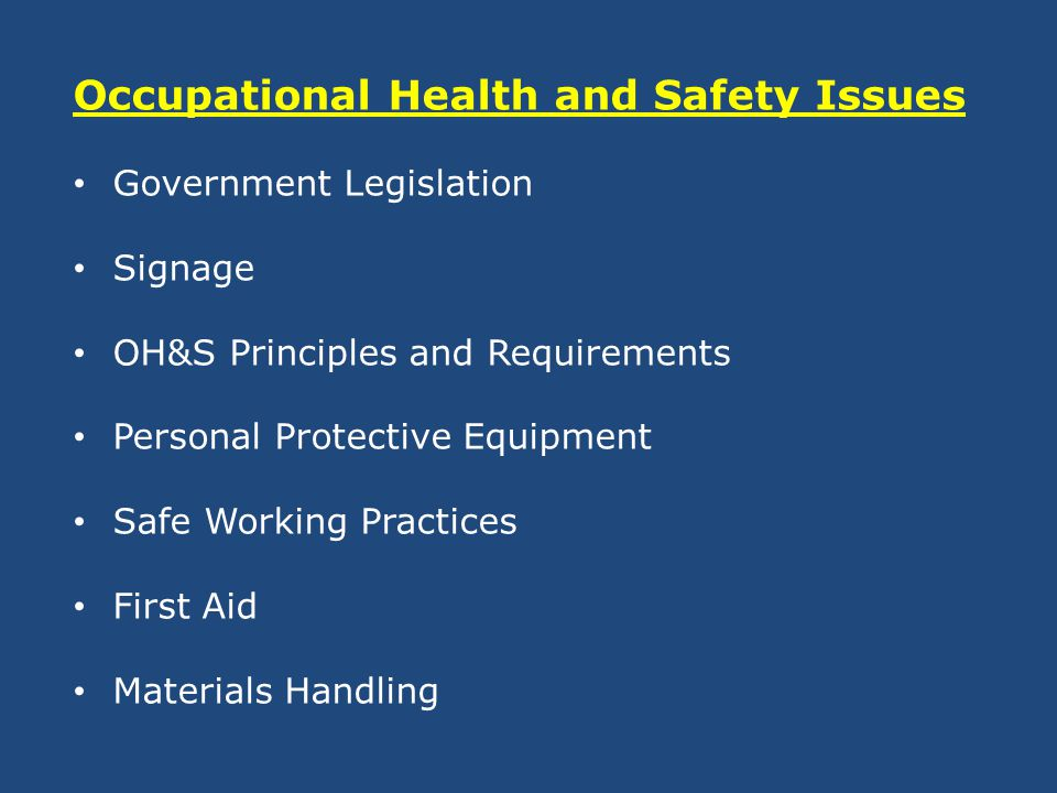 list of health and safety legislation State legislative efforts to improve health care worker safety related to needlesticks began in 1998 as of june 2002, twenty-one other states have enacted some type of legislation related to health listing of safety devices as engineering controls development of a list of available safety devices by.