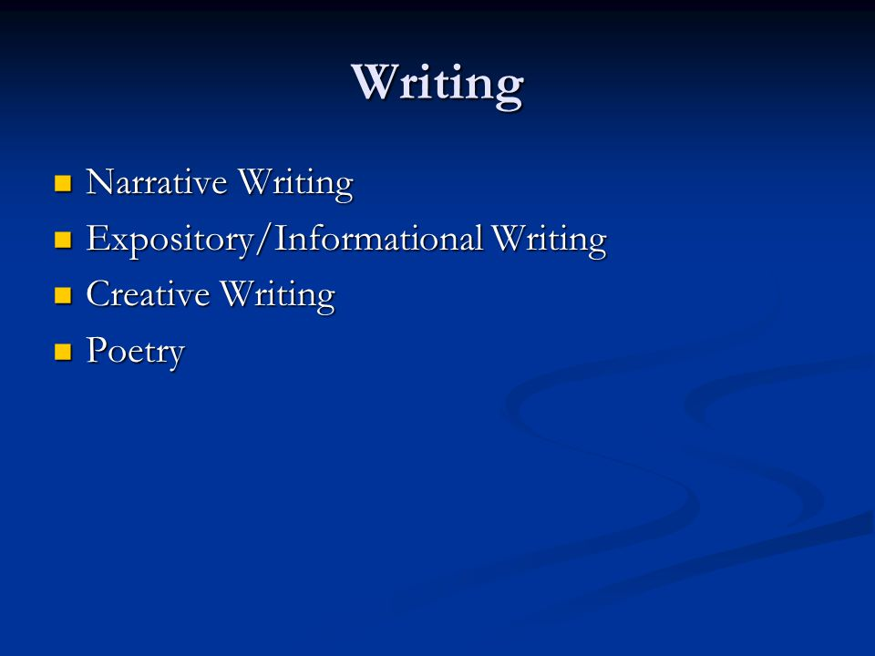 Writing Narrative Writing Expository/Informational Writing
