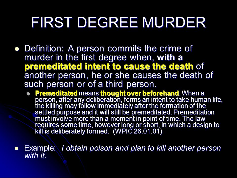 What's the difference between first and second degree murders.