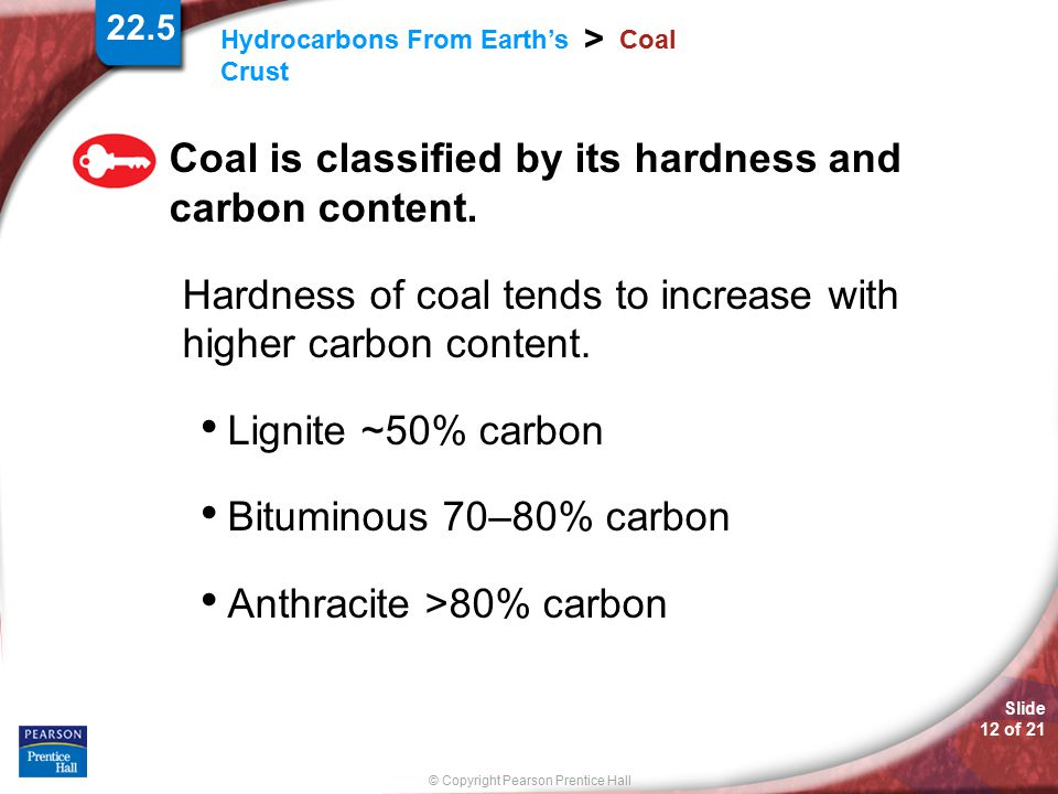 Coal is classified by its hardness and carbon content.