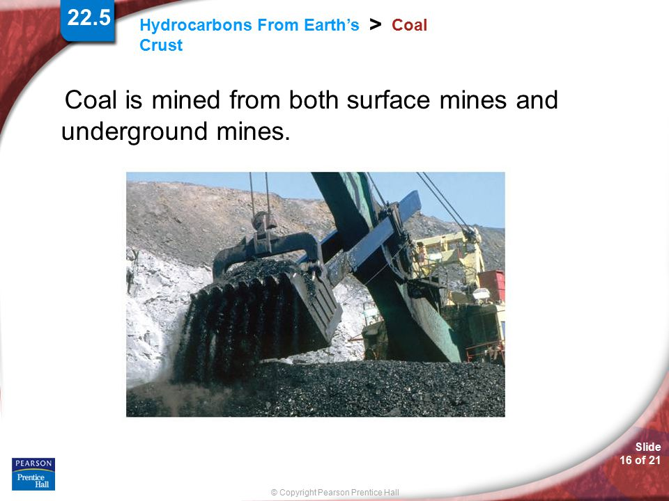 Coal is mined from both surface mines and underground mines.