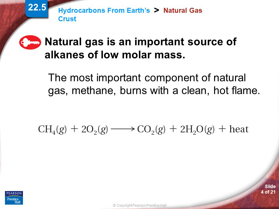 Natural gas is an important source of alkanes of low molar mass.