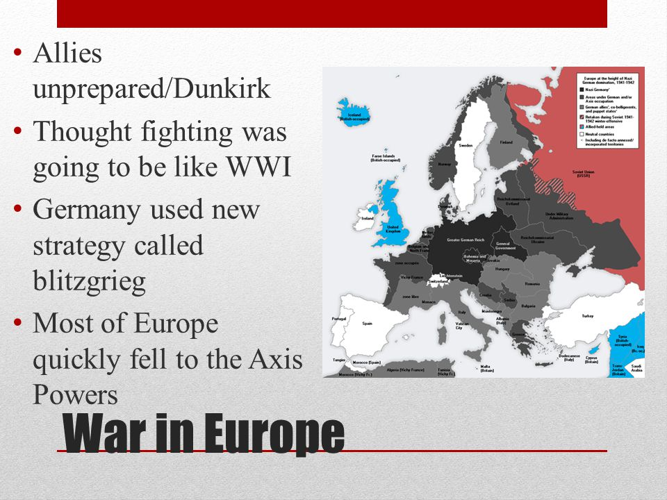 War in Europe Allies unprepared/Dunkirk
