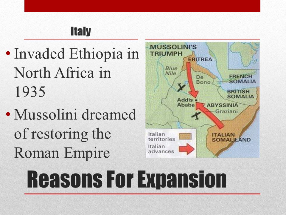 Reasons For Expansion Invaded Ethiopia in North Africa in 1935