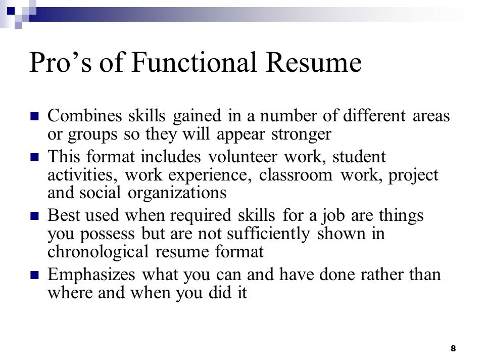 pros of functional resume