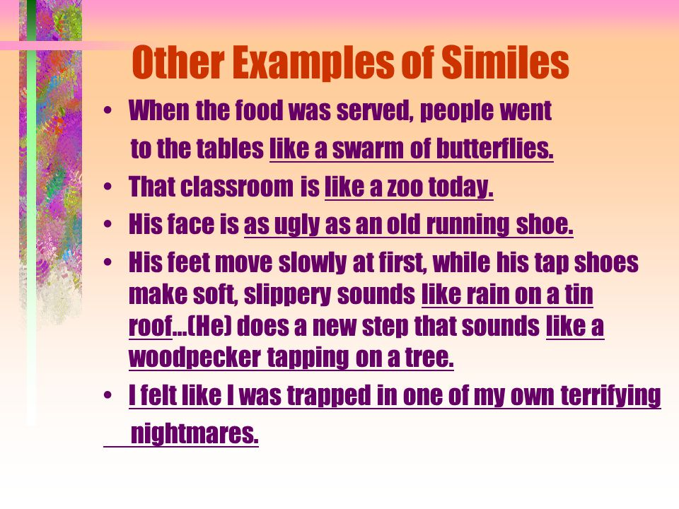 Figurative Language Similes Metaphors Personification
