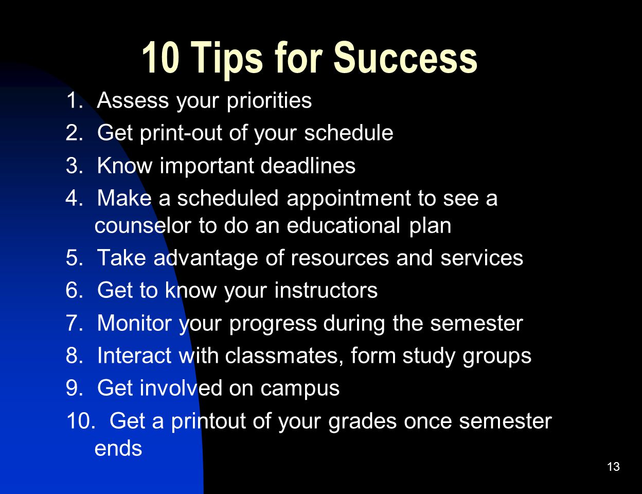 10 Tips for Success 1. Assess your priorities