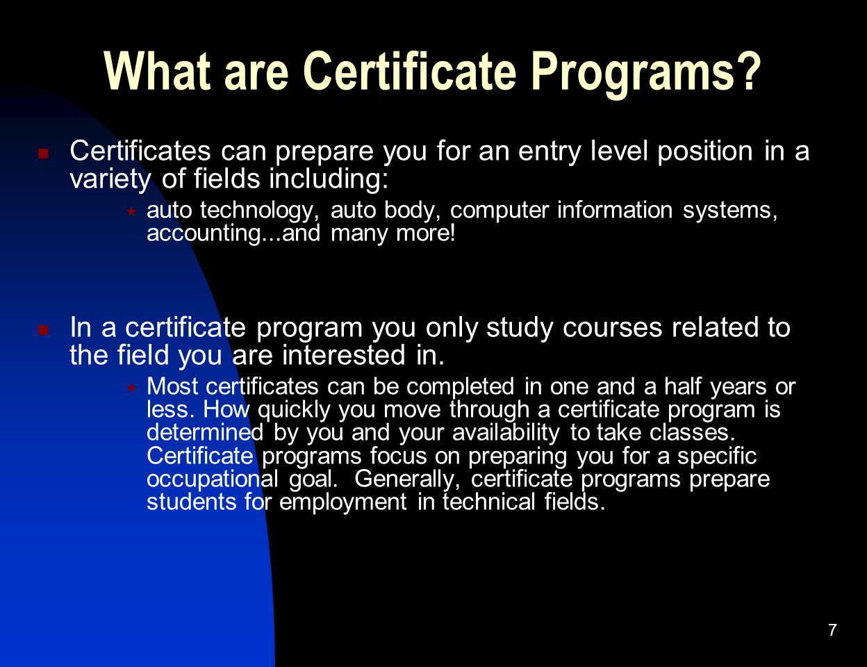 What are Certificate Programs