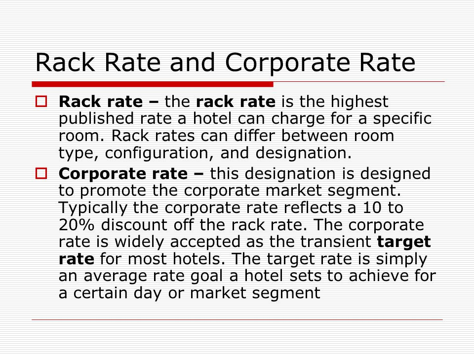 Rack Rate And Corporate