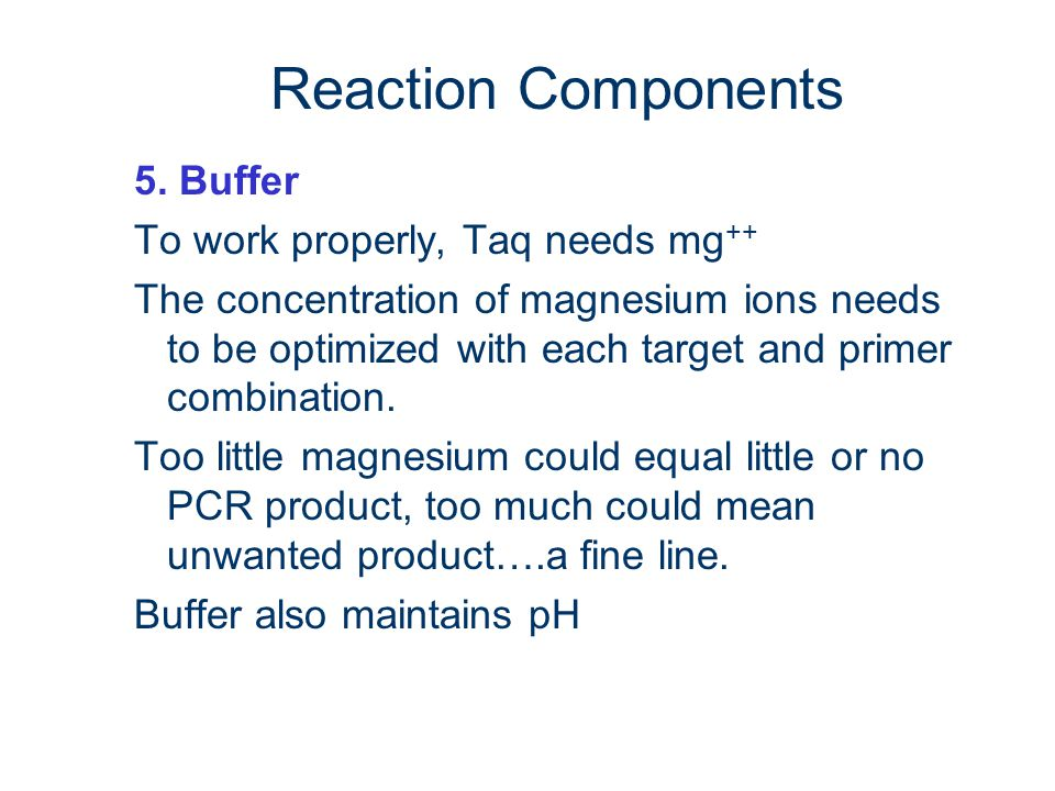 Reaction Components 5. Buffer To work properly, Taq needs mg++