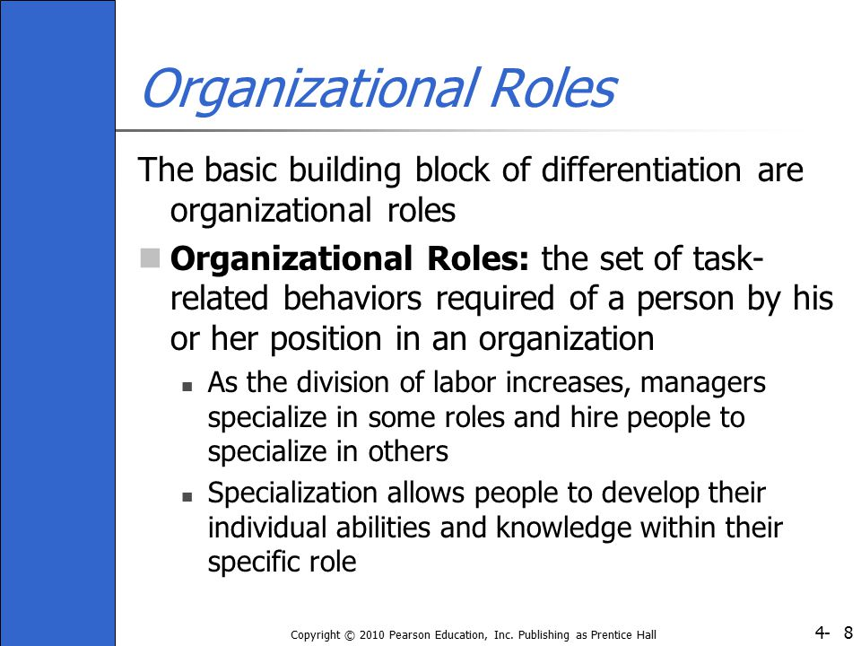 Organizational Roles The basic building block of differentiation are organizational roles.