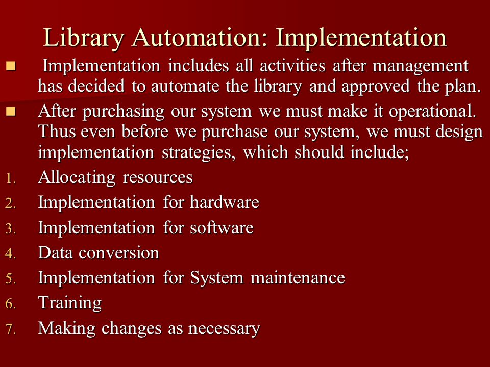 Library Automation Planning And Implementation Ppt Video Online Download
