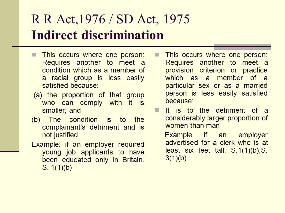 Examples of the sex discrimination act