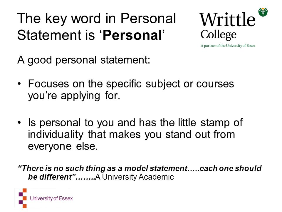 the key word in personal statement is personal