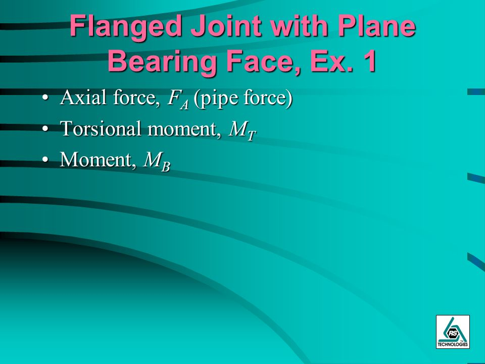 Flanged Joint with Plane Bearing Face, Ex. 1