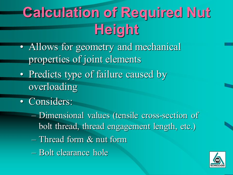 Calculation of Required Nut Height