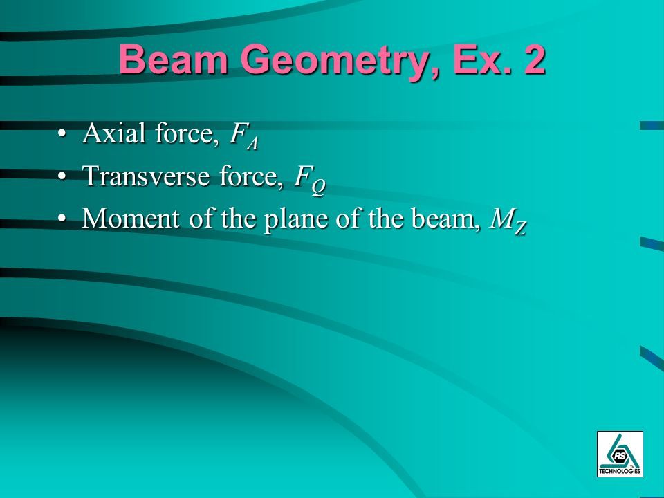Beam Geometry, Ex. 2 Axial force, FA Transverse force, FQ