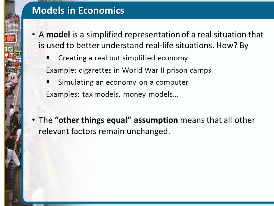 Examples from economic model applications related to the.