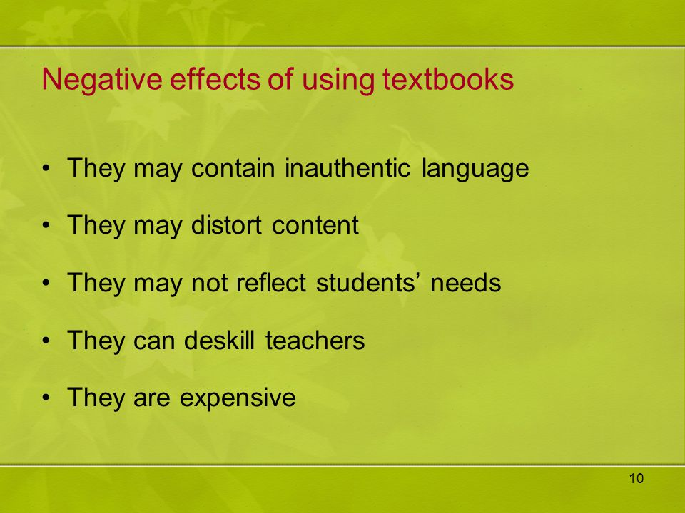 Negative effects of using textbooks