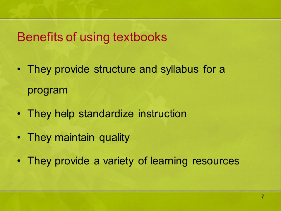 Benefits of using textbooks