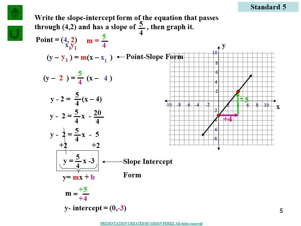slope intercept form x=5  SLOPE INTERCEPT FORM AND POINT-SLOPE FORM - ppt video online ...