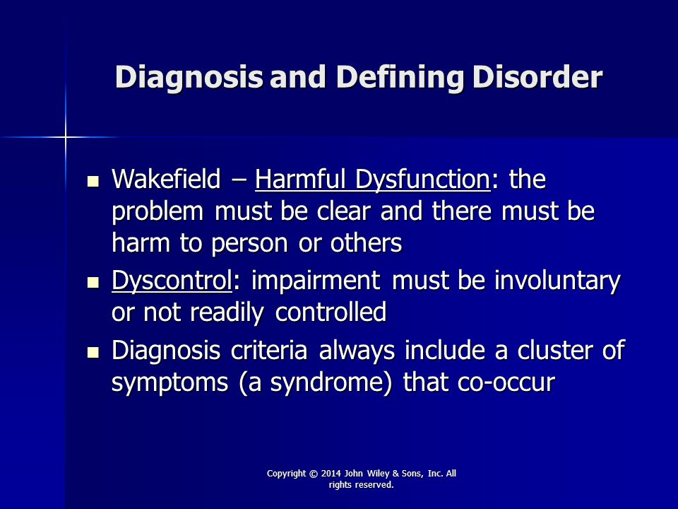 Diagnosis and Defining Disorder