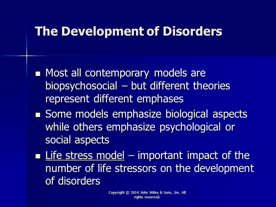 The Development of Disorders