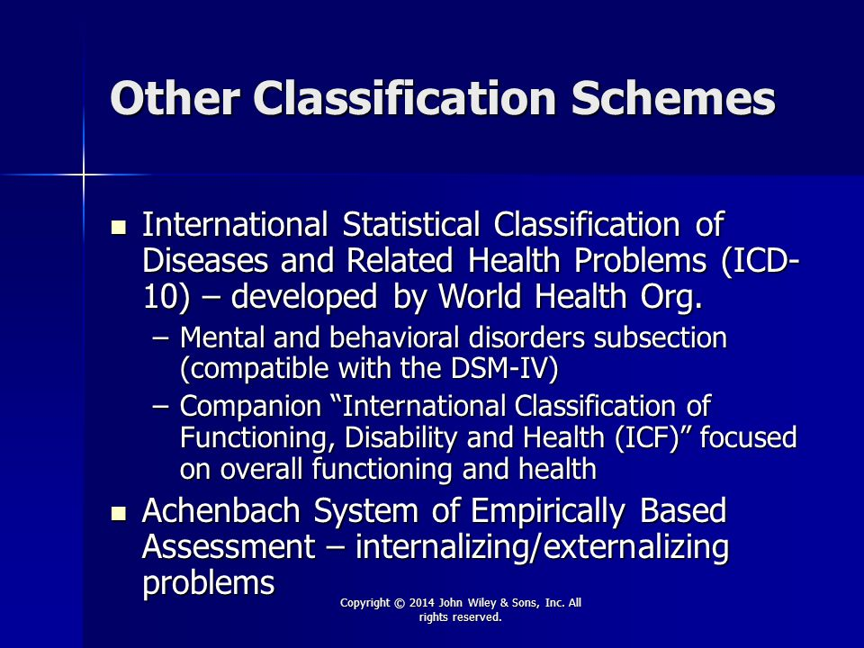 Other Classification Schemes
